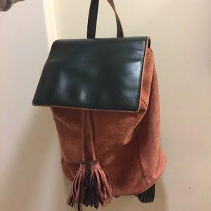 Handbags - Velvet backpack with fringe